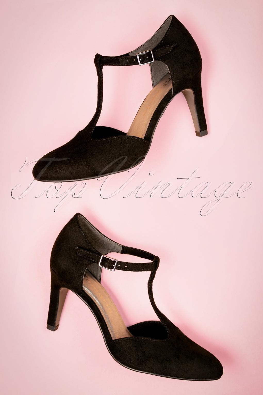 Vintage Style Shoes, Vintage Inspired Shoes 50s Stella T-strap Suedine Pumps in Black £43.01 AT vintagedancer.com