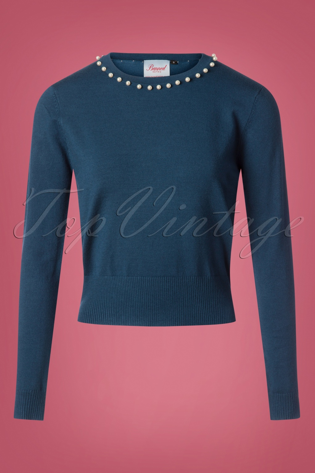 Vintage Sweaters: Cable Knit, Fair Isle Cardigans & Sweaters 50s Pearl Bow Jumper in Blue £32.40 AT vintagedancer.com