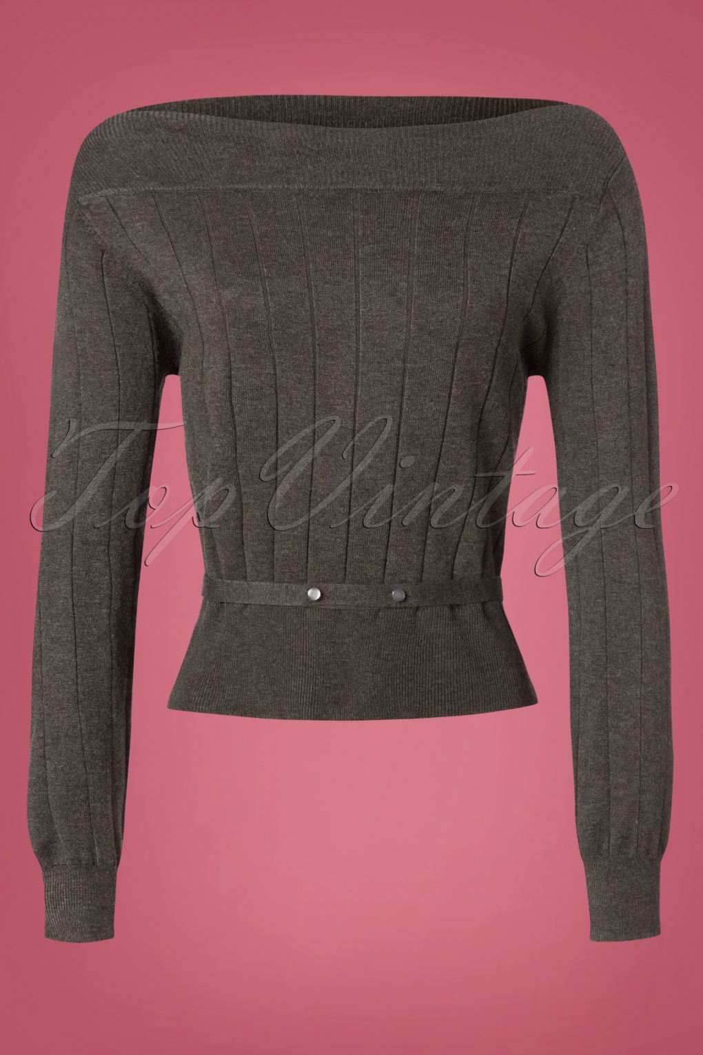 Vintage & Retro Shirts, Halter Tops, Blouses 60s Violetta Knitted Top in Grey £32.97 AT vintagedancer.com