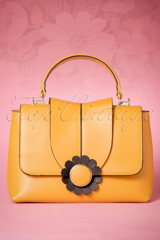 Vintage & Retro Handbags, Purses, Wallets, Bags 60s Bellis Daisy Handbag in Mustard £42.71 AT vintagedancer.com