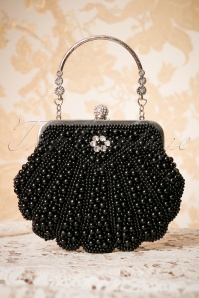 Banned Retro 20s Eleanor Beaded Handbag in Black