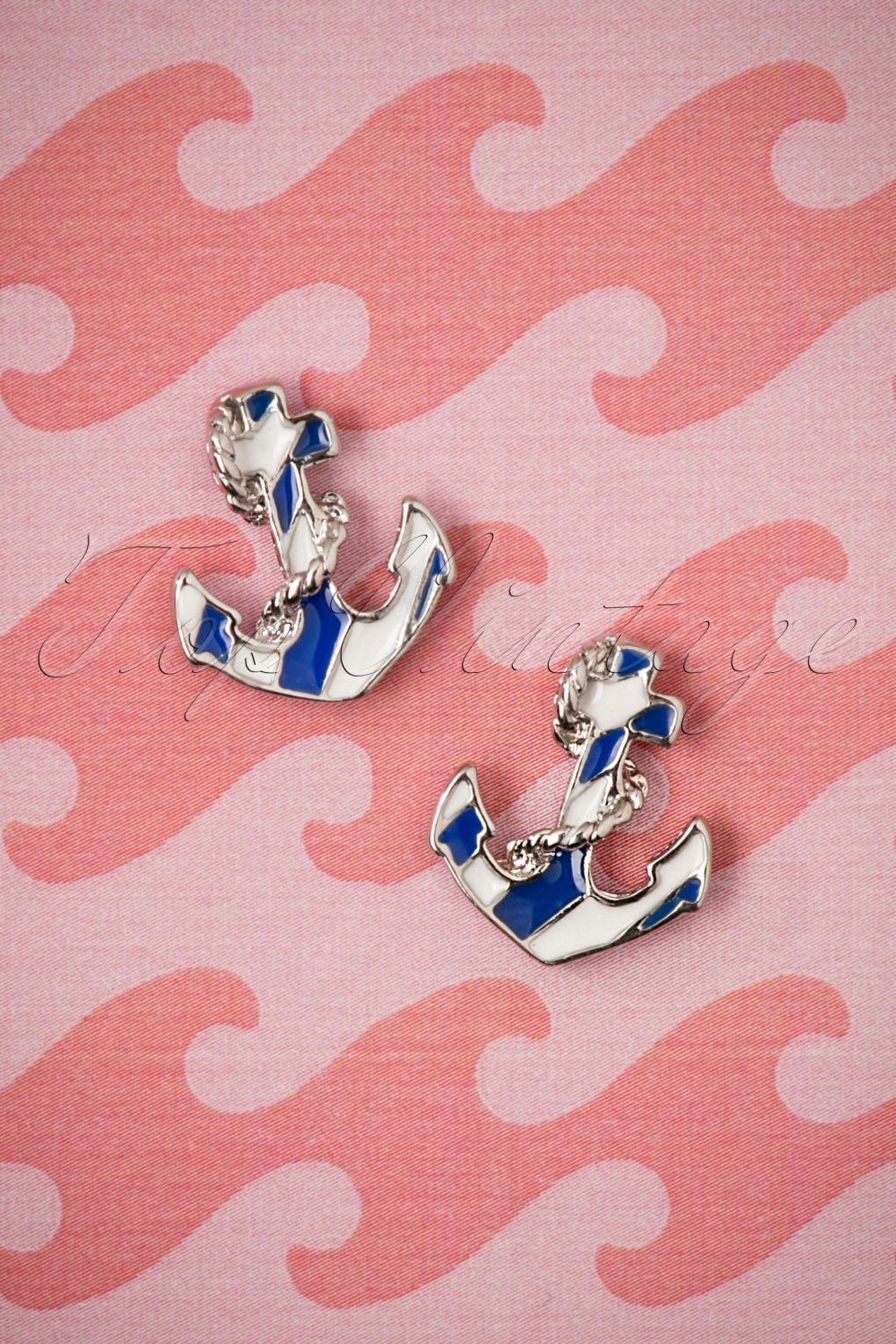 Vintage Cruise Outfits, Vacation Clothing 50s Anchor Earstuds in Silver £9.97 AT vintagedancer.com