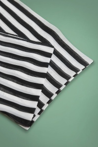 Unique Vintage Pin Up Black and White Striped Hairscarf 208 14 26575 02A
