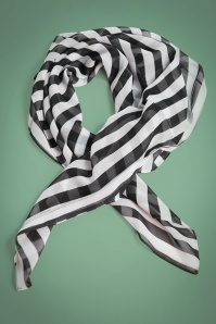 Unique Vintage Pin Up Black and White Striped Hairscarf 208 14 26575 01A