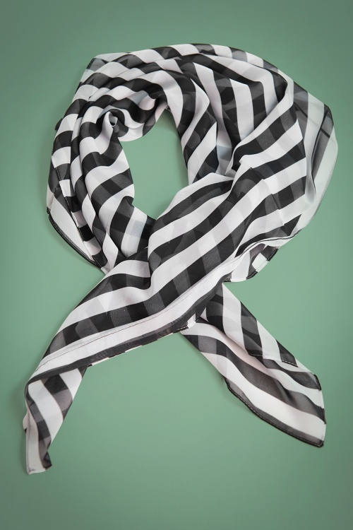 Unique Vintage Pin Up Black and White Striped Hairscarf 208 14 26575 01A acad437e990