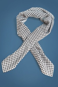 50s Pin-Up Gingham Scarf and Headband in Black and White