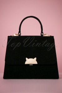 50s Cleo Kitty Velvet Bag in Black
