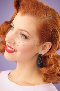Marion Beads Earrings Années 60 en Bleu Nuit