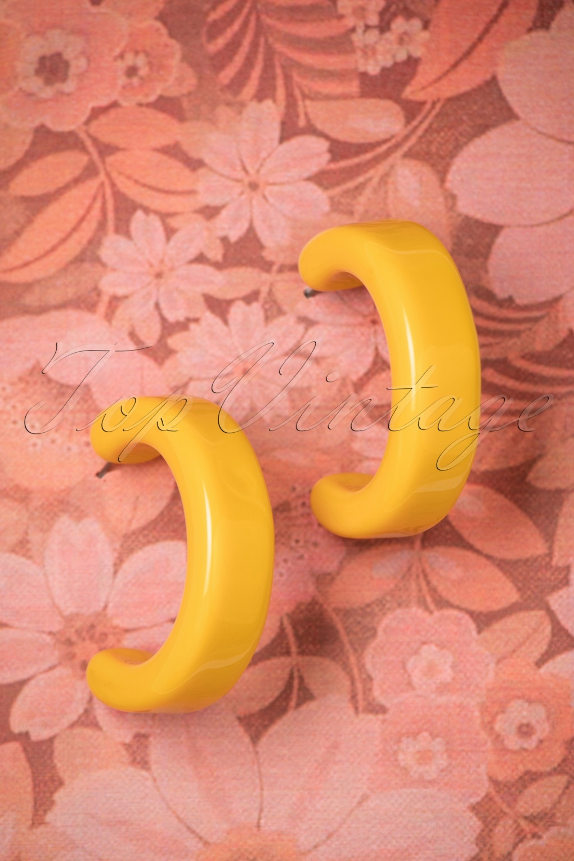 60s -70s Jewelry – Necklaces, Earrings, Rings, Bracelets 60s Chelsea Hoop Earrings in Yellow £10.47 AT vintagedancer.com