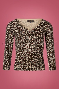 King Louie Deep V Panther Top in Beige 25318 20180724 0001W