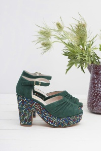 Miss L Fire Maria Forest Green Peeptoe Sandal 421 49 25417 07112018 004