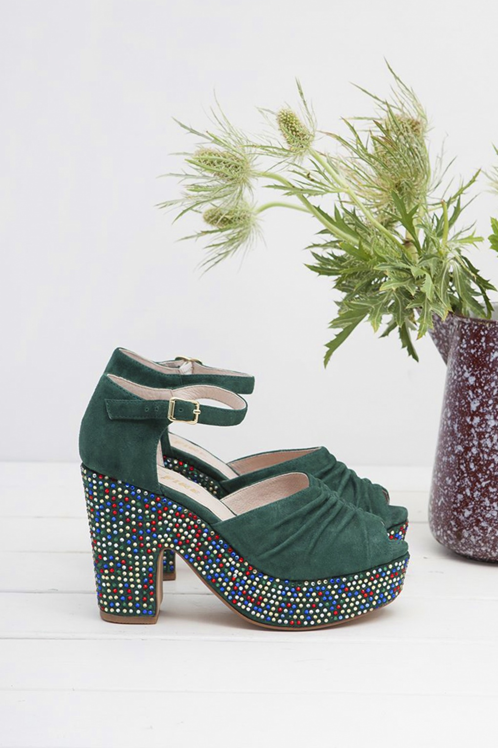 60s Shoes, Boots | 70s Shoes, Platforms, Boots 70s Maria Peeptoe Sandals in Green £170.85 AT vintagedancer.com