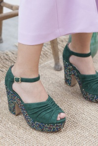 Miss L Fire Maria Forest Green Peeptoe Sandal 421 49 25417 07112018 002