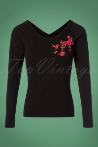 Lien en Giel Black Laval Embroidery Top 113 10 25459 20180824 0002W