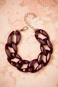 60s Dora Link Bracelet in Wine Red