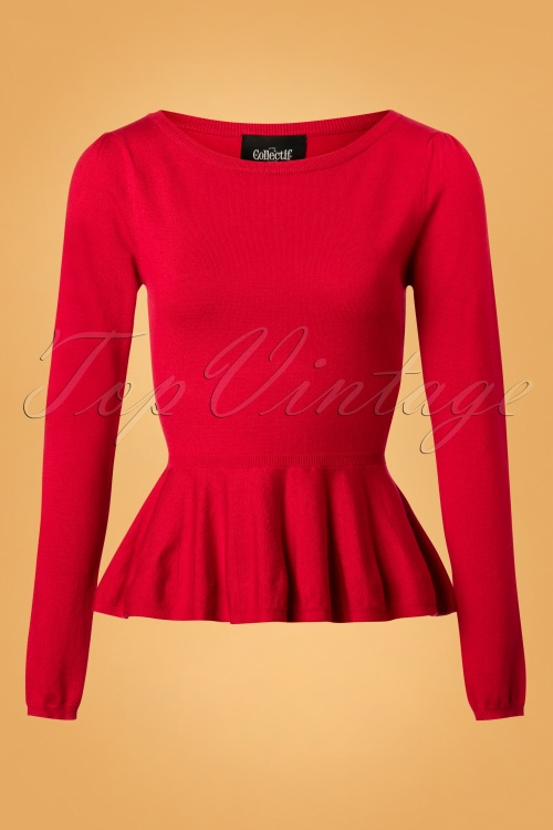 Collectif Clothing Jenni Peplum Jumper in Red 113 20 24793 20180629 0002W