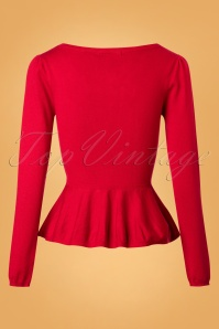 Collectif Clothing Jenni Peplum Jumper in Red 113 20 24793 20180629 0007W