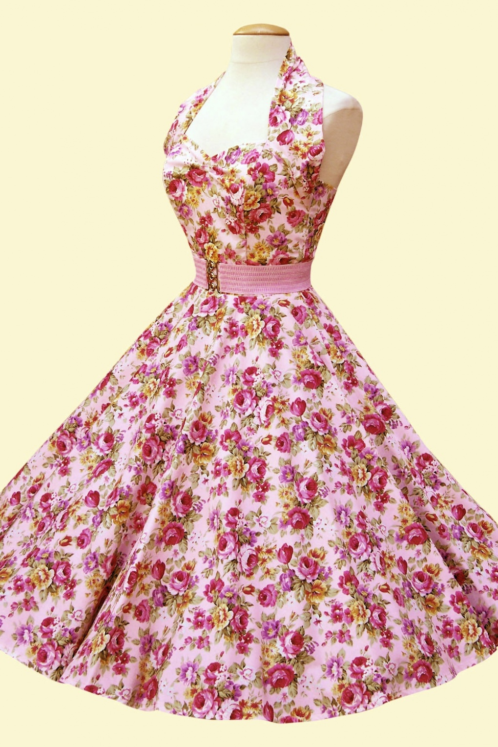 Halter China Rose Pink Swing Dress