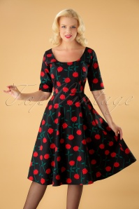 50s Amber Rose Stem Swing Dress in Black
