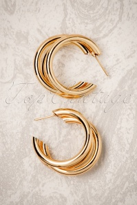 70s Sierra Hoop Earrings in Gold