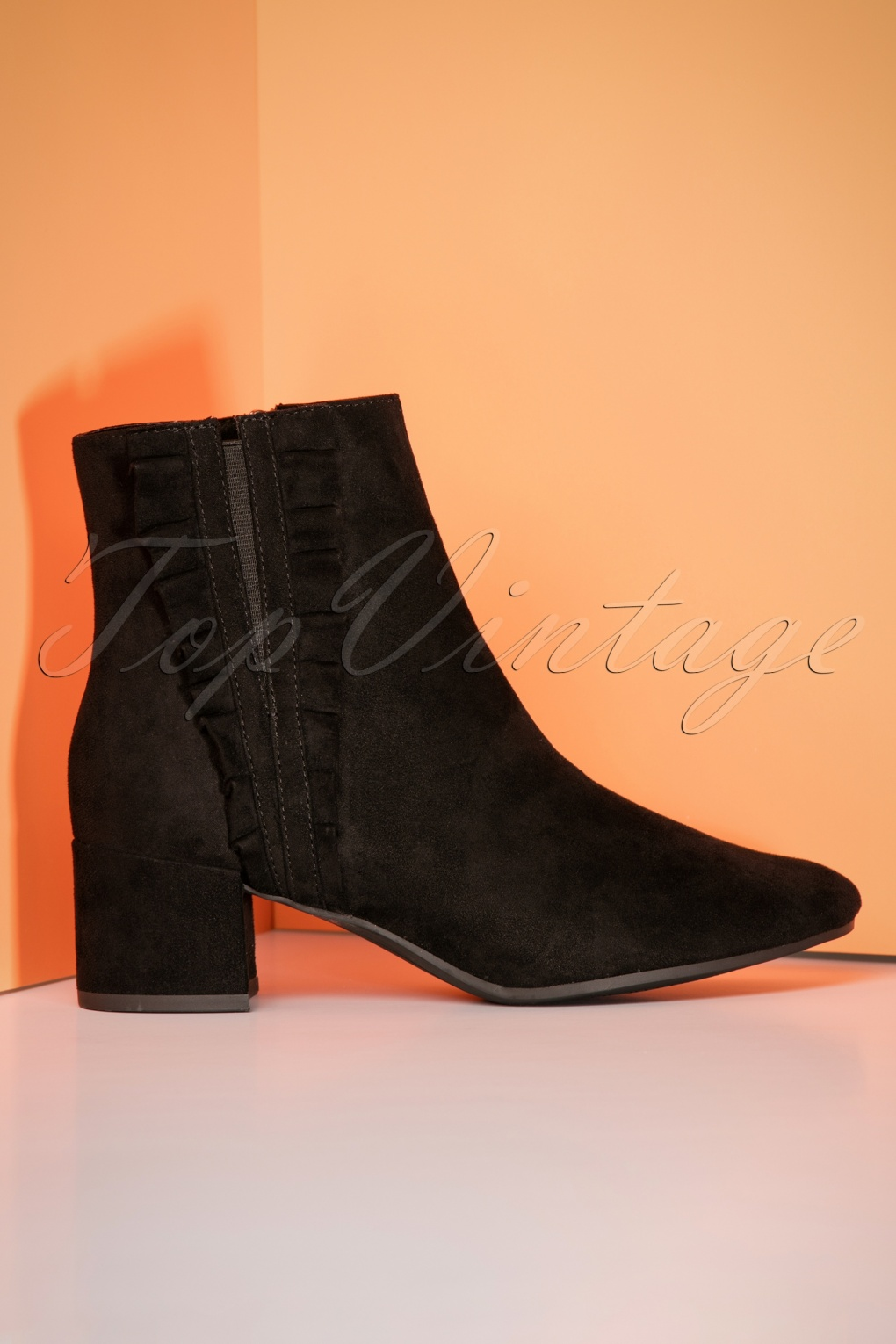 Retro Boots, Granny Boots, 70s Boots 60s Riley Ruffle Ankle Booties in Black £61.25 AT vintagedancer.com