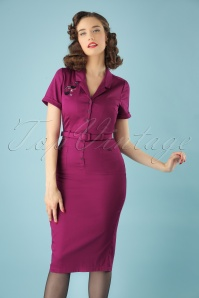 50s Caterina Atomic Cat Pencil Dress in Purple
