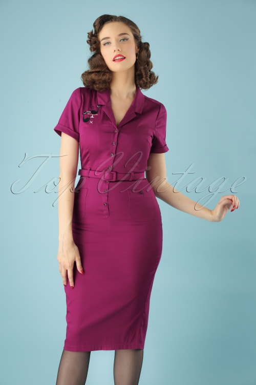 Collectif Clothing Catherina Atomic Cat Pencil Dress in Purple 24902 20180627 01W