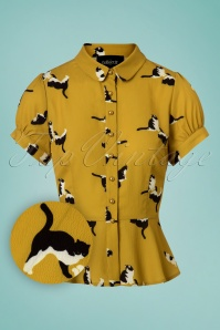Collectif Clothing Mary Grace Kitty Cat Print Blouse 112 89 24860 20180626 0002W1