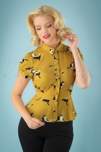 40s Mary Grace Kitty Cat Blouse in Mustard