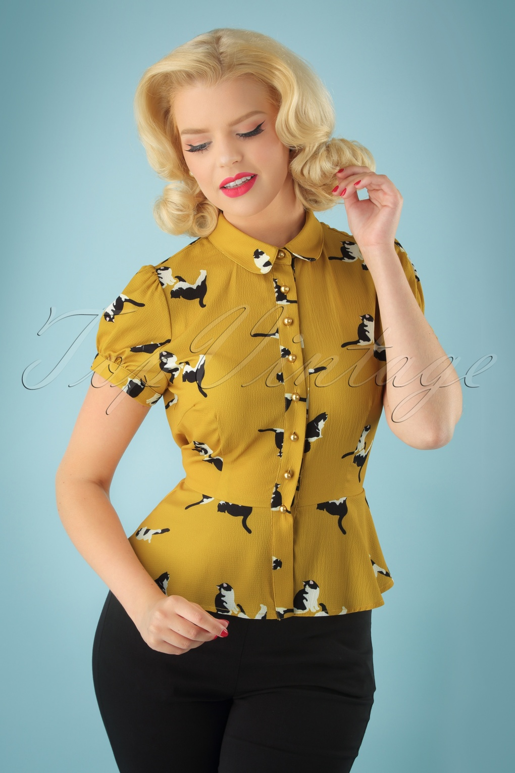Vintage & Retro Shirts, Halter Tops, Blouses 40s Mary Grace Kitty Cat Blouse in Mustard £34.77 AT vintagedancer.com
