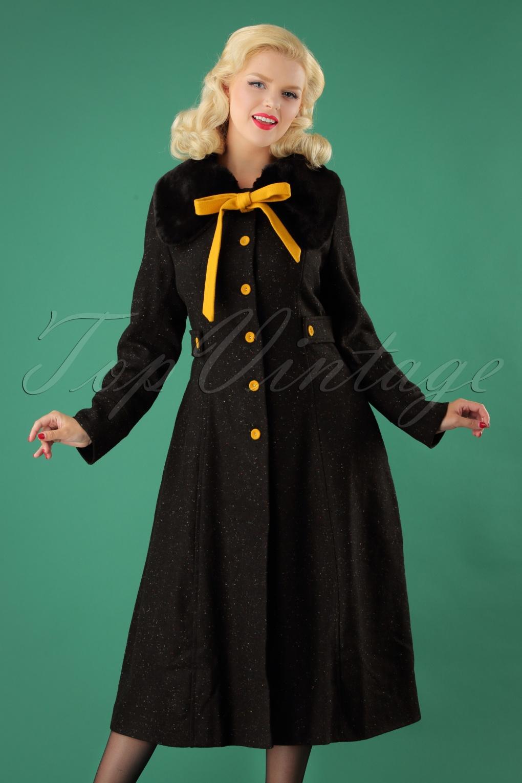 Vintage Coats & Jackets | Retro Coats and Jackets 50s Molly Speckled Coat in Black £113.01 AT vintagedancer.com