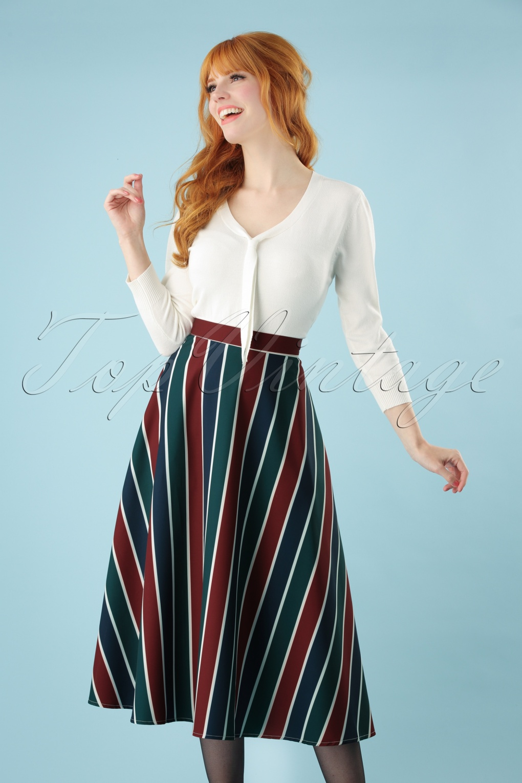 60s Skirts | 70s Hippie Skirts, Jumper Dresses Madelyn Striped Swing Skirt in Multi £37.74 AT vintagedancer.com