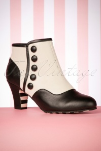 60s Ava Intriguing Booties in White and Black