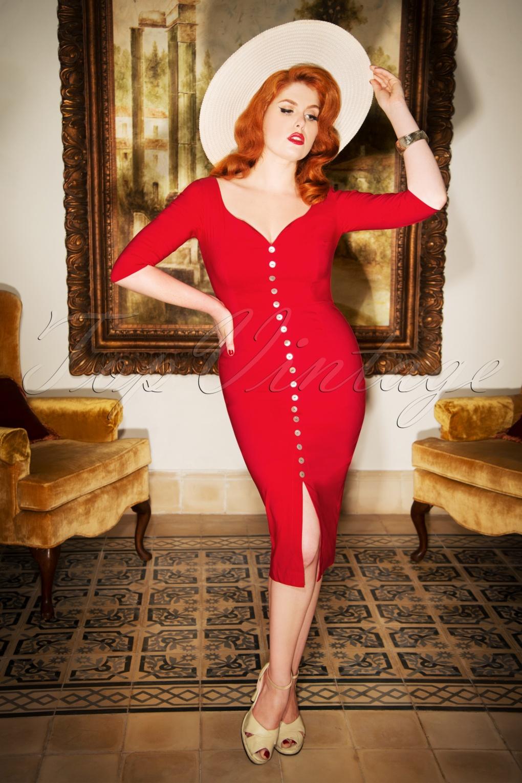 Rockabilly Dresses | Rockabilly Clothing | Viva Las Vegas The Scarlett Pencil Dress in Lipstick Red £115.11 AT vintagedancer.com