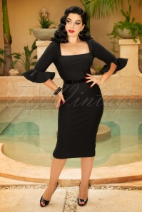 Vintage Diva Fay Pencil Dress in Black 26365 20180613 0008AW