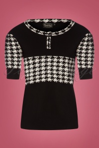 50s Kimberly Houndstooth Sweater in Black and White