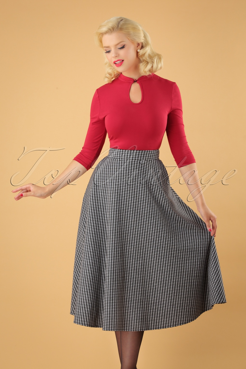 1950s Swing Skirt, Poodle Skirt, Pencil Skirts 50s Arianna Gingham Swing Skirt in Black and White £39.86 AT vintagedancer.com