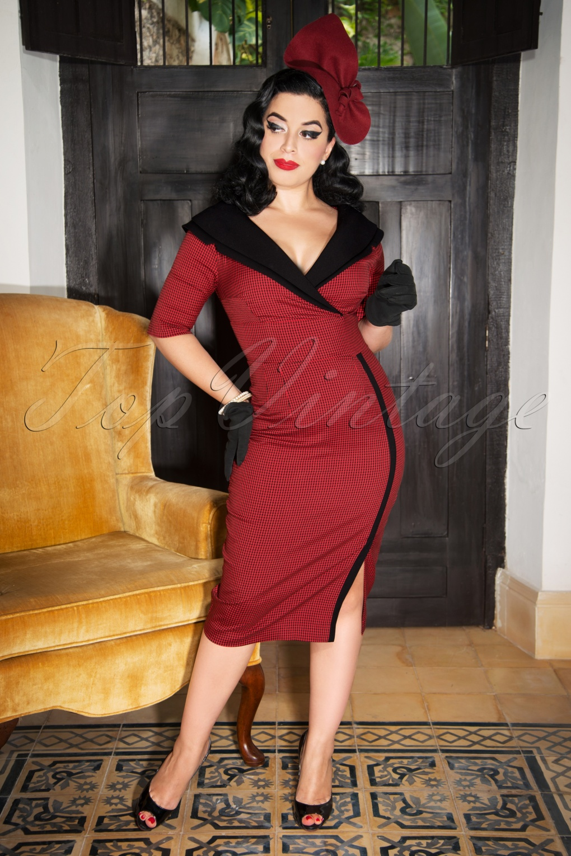 Rockabilly Dresses | Rockabilly Clothing | Viva Las Vegas The Greta Pencil Dress in Red and Black Gingham £114.57 AT vintagedancer.com