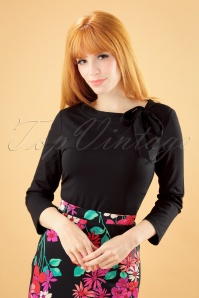 50s Melanie Tie Neck Top in Black