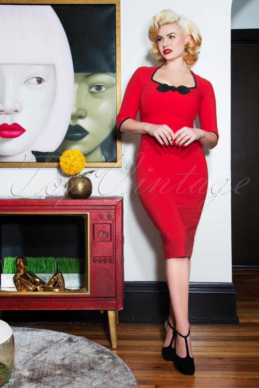 Rockabilly Dresses | Rockabilly Clothing | Viva Las Vegas 50s Karen Sleeved Pencil Dress in Red £78.08 AT vintagedancer.com
