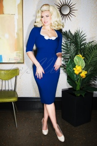 Glamour Bunny Karen Pencil Dress in Blue 25747 20180619 0018W