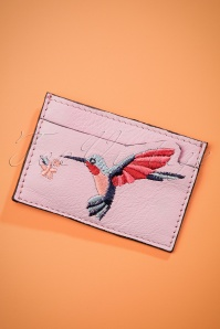 50s Hazel Hummingbird Leather Cardholder in Lilac