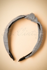 50s Check Hairband in Black and White