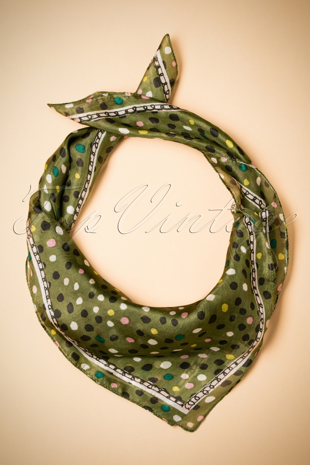 Vintage Scarf Styles -1920s to 1960s 60s Spotted Silk Scarf in Green £15.31 AT vintagedancer.com