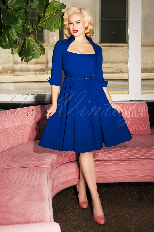 Vintage Cocktail Dresses, Party Dresses, Prom Dresses 50s Lorelei Swing Dress in Royal Blue £121.83 AT vintagedancer.com