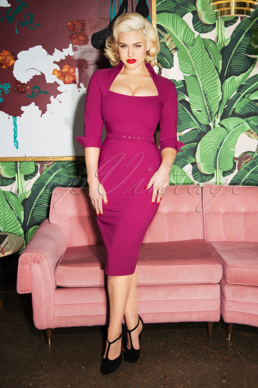 Rockabilly Dresses | Rockabilly Clothing | Viva Las Vegas 50s Lorelei Pencil Dress in Berry £113.89 AT vintagedancer.com