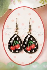Cherry Drop Earrings Années 50 en Noir et Rouge