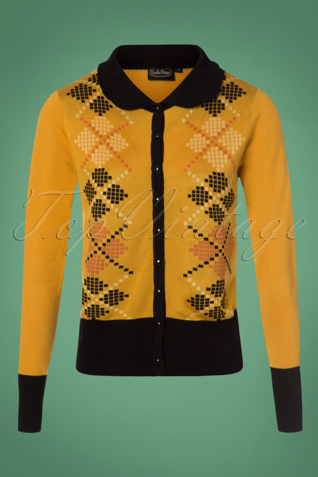 Vintage Sweaters: Cable Knit, Fair Isle Cardigans & Sweaters 60s Sophie Argyle Cardigan in Mustard £30.63 AT vintagedancer.com