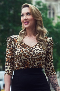 50s Von Teese Top in Leopard