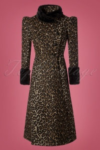 50s Violet Faux Fur Trim Coat in Leopard